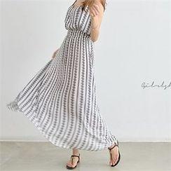 PIPPIN - Sleeveless Gathered-Waist Pattern Maxi Dress