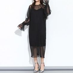 Myrtle - Set: Mesh Panel Bell-Sleeve Dress + Strap Dress