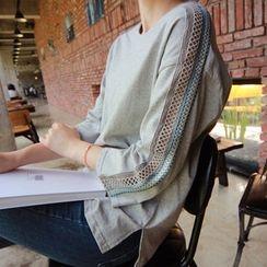 LEELIN - 3/4-Sleeve Lace-Trim T-Shirt