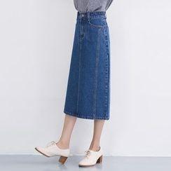 Yohana - Panel Denim Midi Skirt
