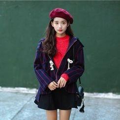 AiAi Bear - Striped Hooded Woolen Jacket