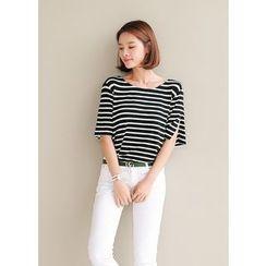 J-ANN - Round-Neck Elbow-Sleeve Strip T-Shirt