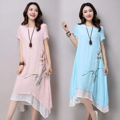 Salisha - Print Short-Sleeve Midi Dress
