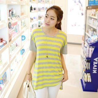 CLICK - Drop-Shoulder Stripe T-Shirt