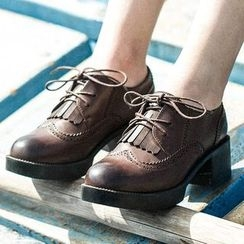 MIAOLV - Block Heel Brogue Oxfords