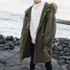 Soulcity - Padded Coat wtih Detachable Faux Fur Trim