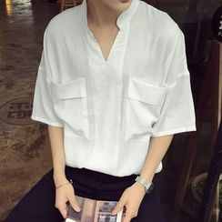 JUN.LEE - Linen Cotton Short-Sleeve Stand-collar Shirt