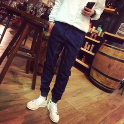 JUN.LEE - Washed Elastic-Hem Jeans