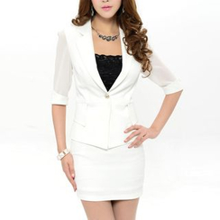 Caroe - Set: Elbow-Sleeve Blazer + Pencil Skirt
