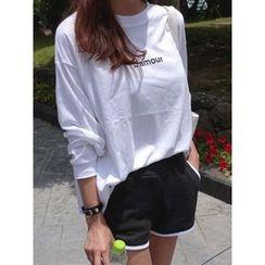 hellopeco - Drop-Shoulder Lettering Sweatshirt