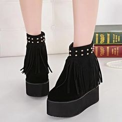 Mancienne - Fringed Studded Wedge Ankle Boots