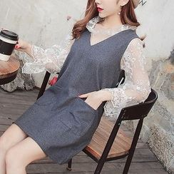 Enocula - Set: Long-Sleeve Lace Top + V-Neck Jumper Dress