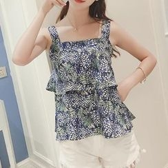 Jolly Club - Sleeveless Floral Ruffle Top