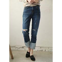 GOROKE - Cuff-Hem Distressed Jeans