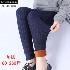 Artfeel - 條紋刷毛裡內搭褲