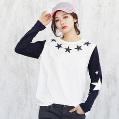 SDKING - Star Print Contrast Long-Sleeved T-Shirt
