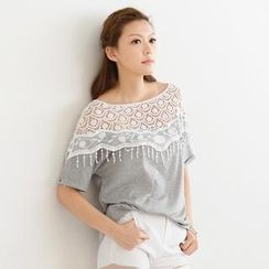 SO Central - Short-Sleeve Crochet Lace Yoke Top