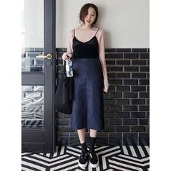 maybe-baby - Slit-Front Denim Midi Skirt