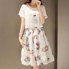 Enjoi - Set: Printed Short-Sleeve T-shirt + Printed Skirt