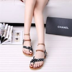 Sunsteps - Dotted Loop Toe Lace Up Flat Sandals