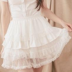 dollydelly - 束腰網紗搭層裙褲