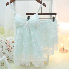 Snorie - Pajama Set: Lace Strap Sleep Dress + Shorts