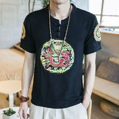 EVAMORE - Short-Sleeve Embroidered T-Shirt