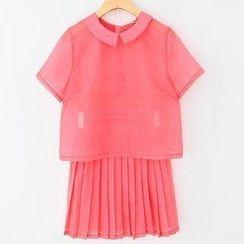 JVL - Set: Blouse + Pleated Skirt