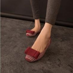 Pangmama - Bow-Accent Houndstooth Flats