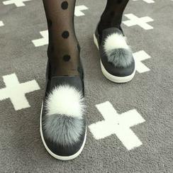 Dodostyle - Faux Fur Pompom-Trim Slip-Ons