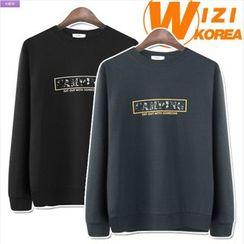 WIZIKOREA - Camouflage Lettering Sweatshirt