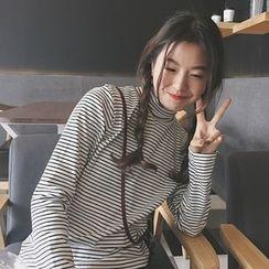 Eva Fashion - 高領條紋長袖T恤