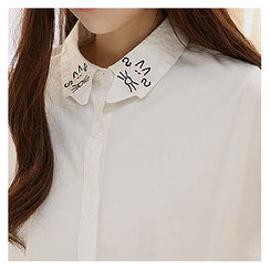 Sechuna - Cat-Embroidered Pocket-Front Shirt