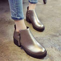 楊董 - 粗跟側拉鍊及踝靴