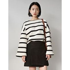 FROMBEGINNING - Boat-Neck Stripe Top
