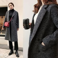 Seoul Fashion - Notched Lapel Double-Breasted Coat