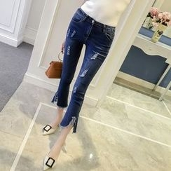 RUI - Distressed Cropped Boot Cut Jeans