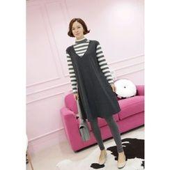 Lemite - Mock Two-Piece Stripe Flare Dress