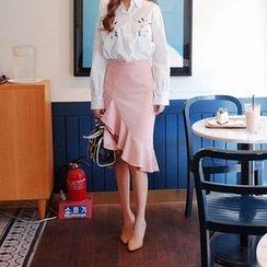 Cherryville - Asymmetric Ruffle-Hem Mermaid Skirt