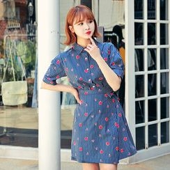 HOTPING - Wrap-Front Pattern Shirtdress