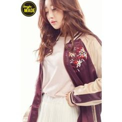 BONGJA SHOP - Floral-Embroidered Baseball Jacket
