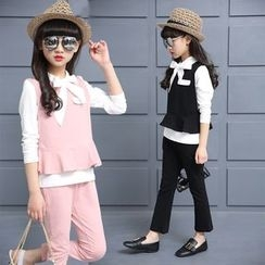 Pegasus - Kids Set: Bow Accent Long Sleeve Top + Peplum Tank Top + Plain Pants