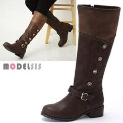 MODELSIS - Button-Accent Buckled Long Boots