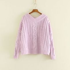 Mushi - V-Neck Cable Knit Sweater