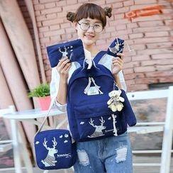 I.O.U - Set: Deer Print Backpack + Crossbody Bag + Clutch + Pencil Case + Drawstring Pouch