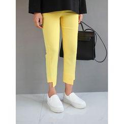 STYLEBYYAM - Cropped Asymmetric-Hem Pants
