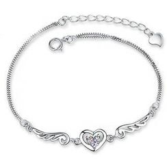 BELEC - White Gold Plated 925 Sterling Silver Angel Wings Bracelet with Silver Cubic Zircon