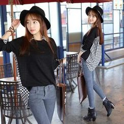 migunstyle - Mock Gingham Shirt Layered Cotton Top