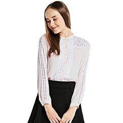 O.SA - Stand-Collar Lace-Panel Shirt