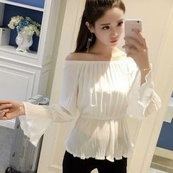 HazyDazy - Plain Off Shoulder Long Sleeve Chiffon Top